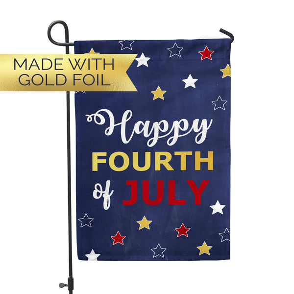 "GOLD FOIL Happy Fourth Garden Flag  12"" x 18"" - Second East"