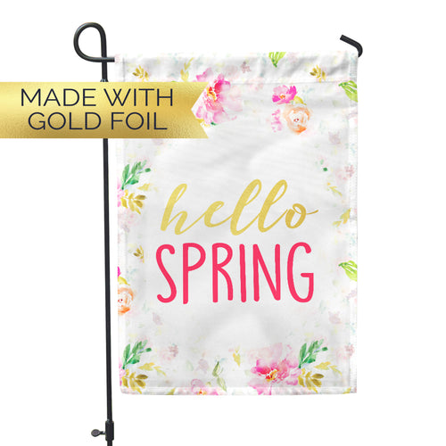 *GOLD FOIL* Hello Spring Home & Garden Flag - Second East