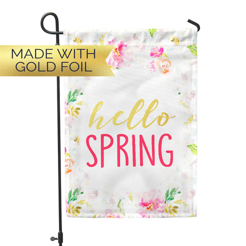 GOLD FOIL Hello Spring Garden Flag - Second East