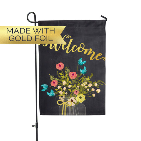 "GOLD Welcome Floral Garden Flag 12"" x 18"" - Second East"