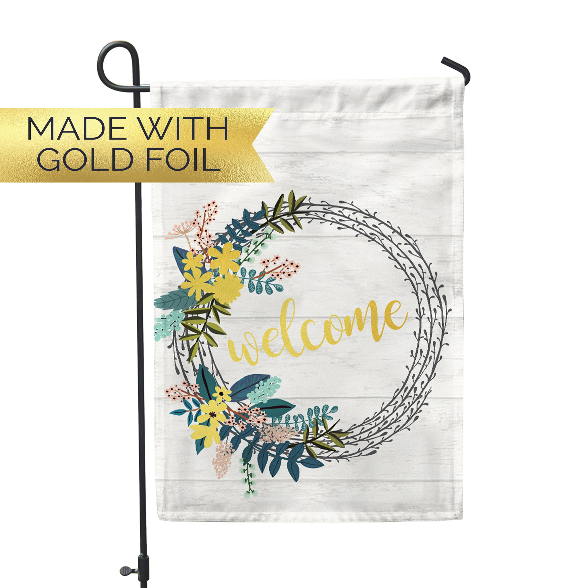 "GOLD Welcome Wreath Garden Flag 12"" x 18"" - Second East"