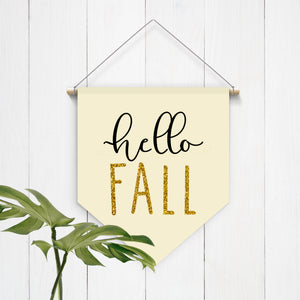Hello Fall Golden Felt Hanging Banner - Second East