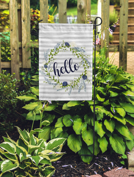 "Hello Grey Stripe Floral Garden Flag 12"" x 18"" - Double Sided - Second East"