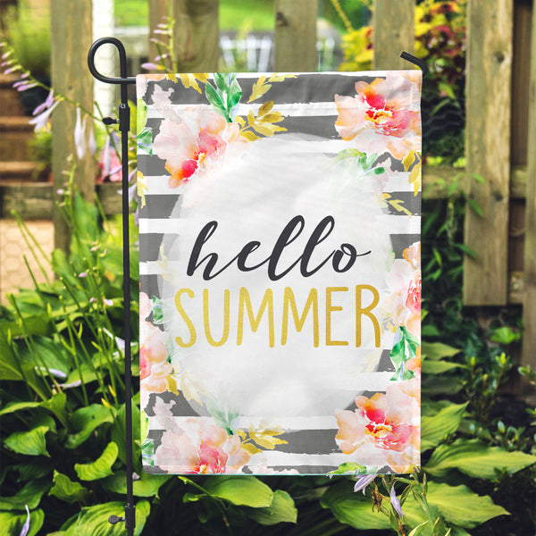 "GOLD Hello Summer Garden Flag 12"" x 18"" - Second East"