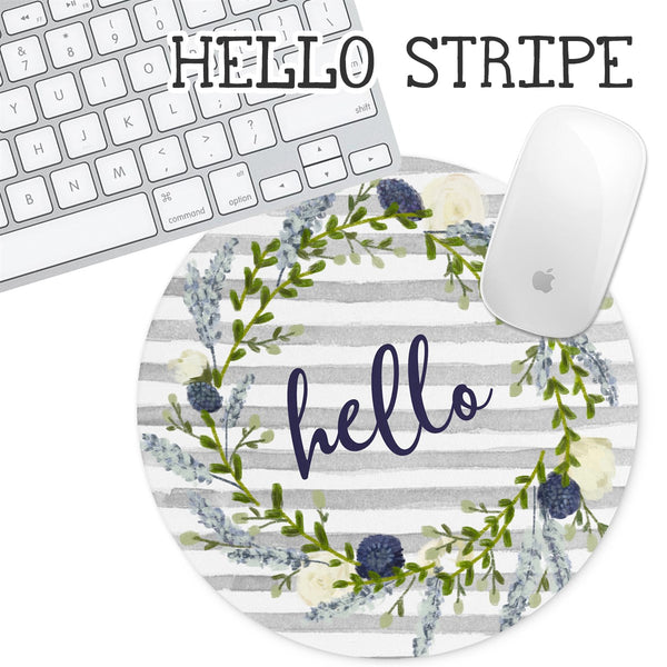Personalized Round Mouse Pad - Hello Stripe - Second East