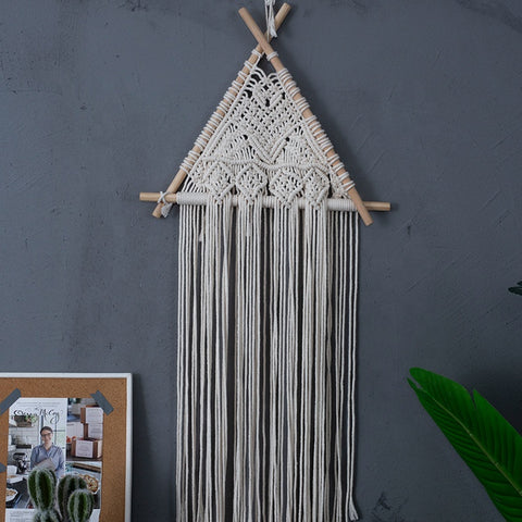 Cream Macrame Triangle Wall Hanger
