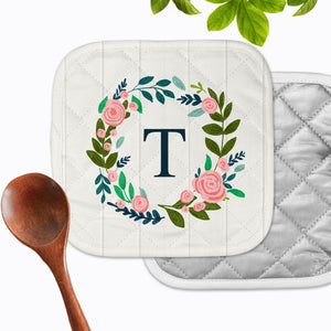 Personalized - Initial White Floral Hot Pad - Second East