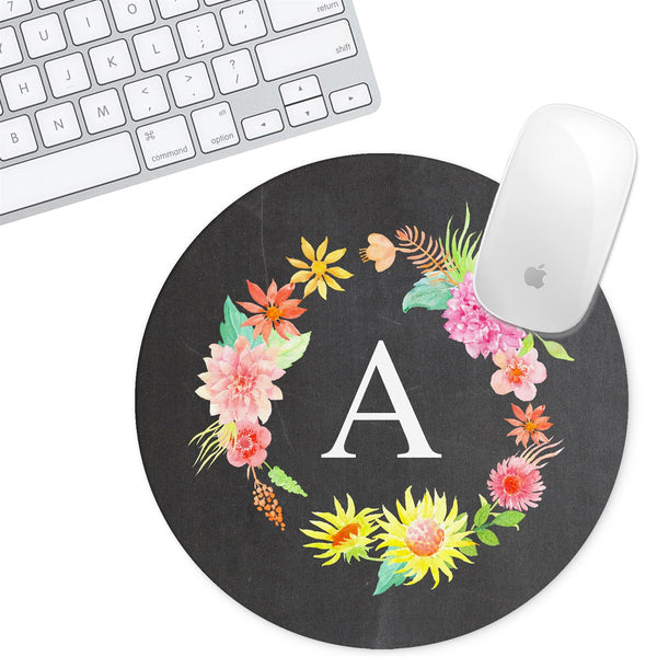 Personalized Round Mouse Pad - Initial Chalk Floral - Second East