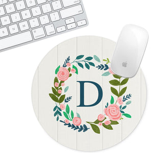 Personalized Round Mouse Pad - Initial White Floral - Second East