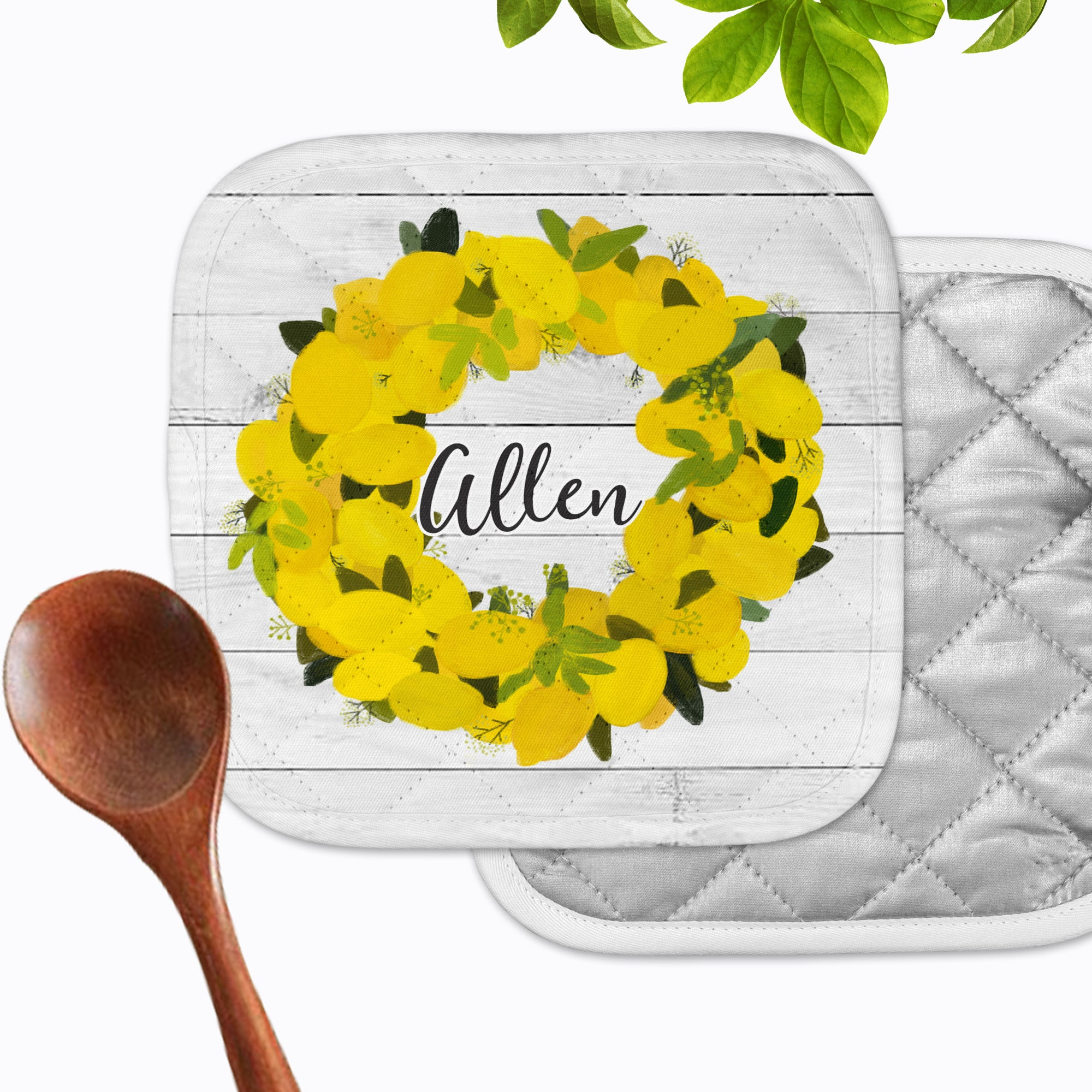 Personalized - Lemon Wreath Hot Pad - Second East