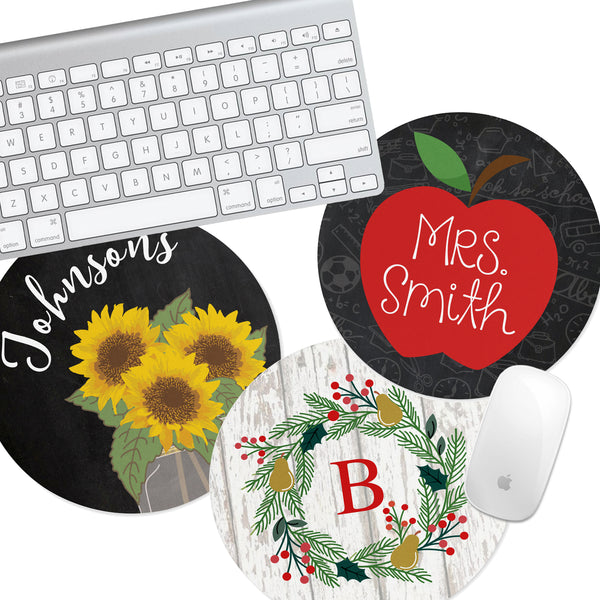 Personalized Round Mouse Pad - Apple Notepad - Second East