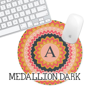 Personalized Round Mouse Pad - Medallion Dark - Second East