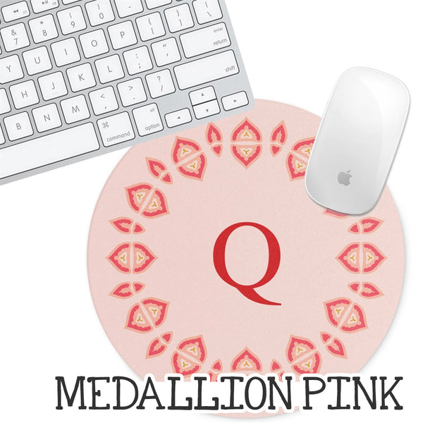 Personalized Round Mouse Pad - Medallion Pink - Second East