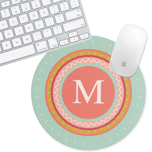 Personalized Round Mouse Pad - Medallion Teal - Second East
