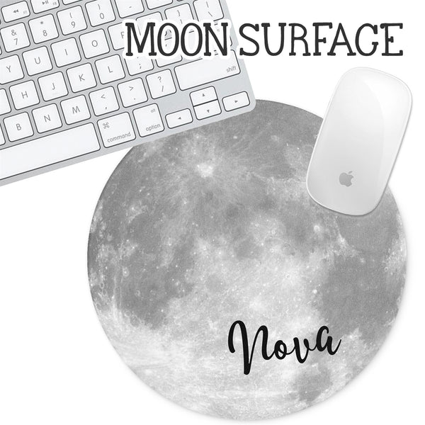 Personalized Round Mouse Pad - Moon Surface - Second East