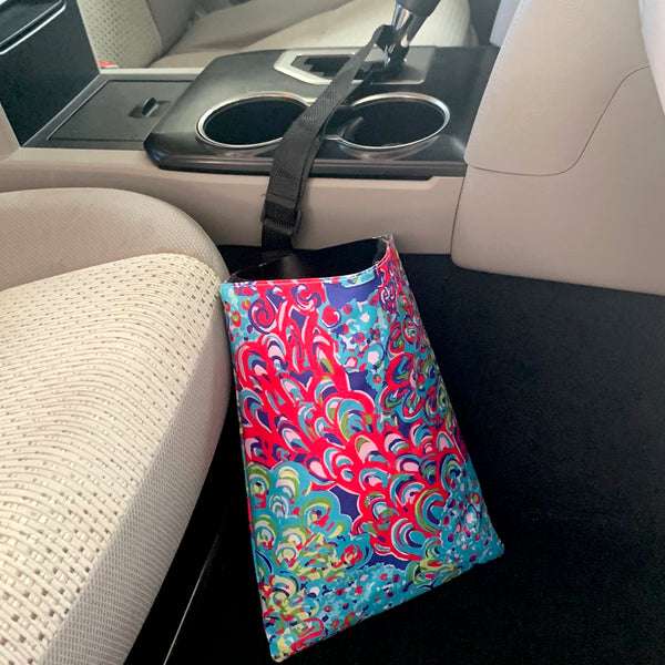 Penelope Peacock Car Trash Bin | Car organizer - Second East