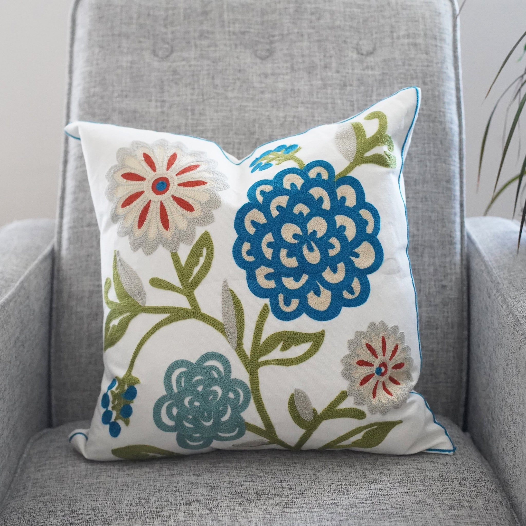Embroidered Pillow Cover - Bloom