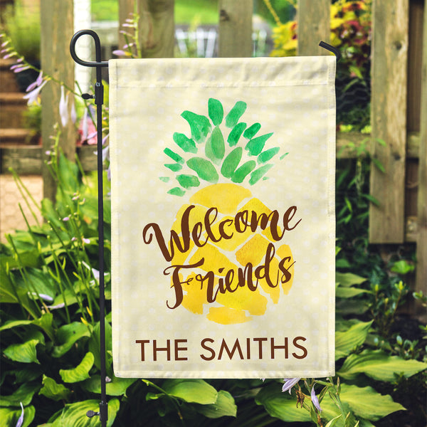 "Personalized Garden Flag - Welcome Friends Pineapple Custom Yard Flag - 12"" x 18"" - Second East"