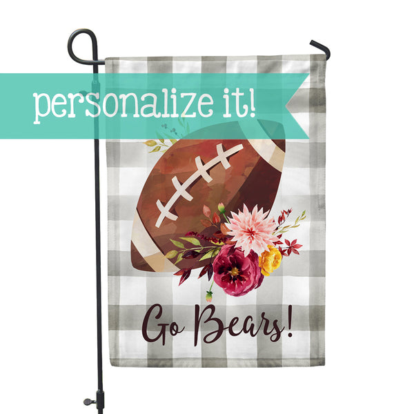 Personalized Plaid Football Home + Garden Flag - Second East