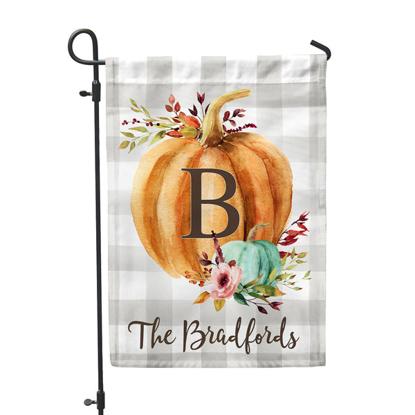 "Personalized Pumpkin Fall Harvest Home + Garden Flag | Mom Seasonal Gift 12""x18"" - Second East"
