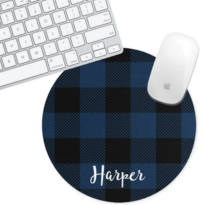 Personalized Round Mouse Pad - Plaid Taylor - Second East