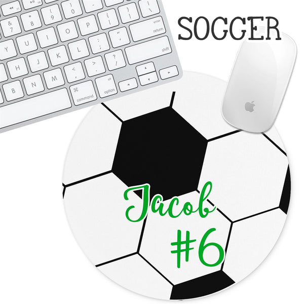 Personalized Round Mouse Pad - Soccer - Second East