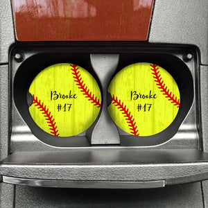 Custom Softball Sandstone Coaster - FREE SHIPPING - Second East