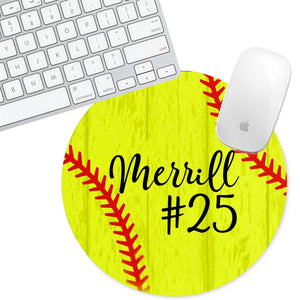 Personalized Round Mouse Pad - Softball - Second East