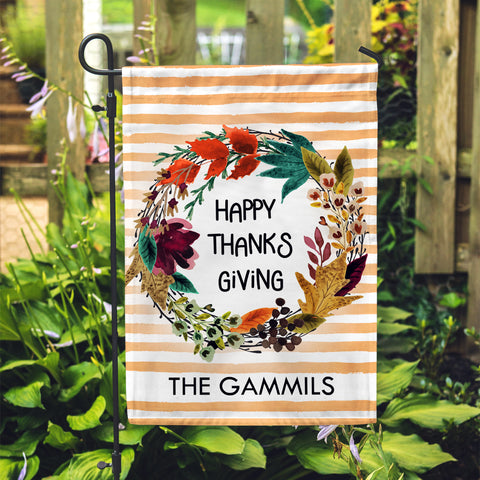 "Personalized Garden Flag - Happy Thanksgiving Custom Yard Flag - 12"" x 18"" - Second East"