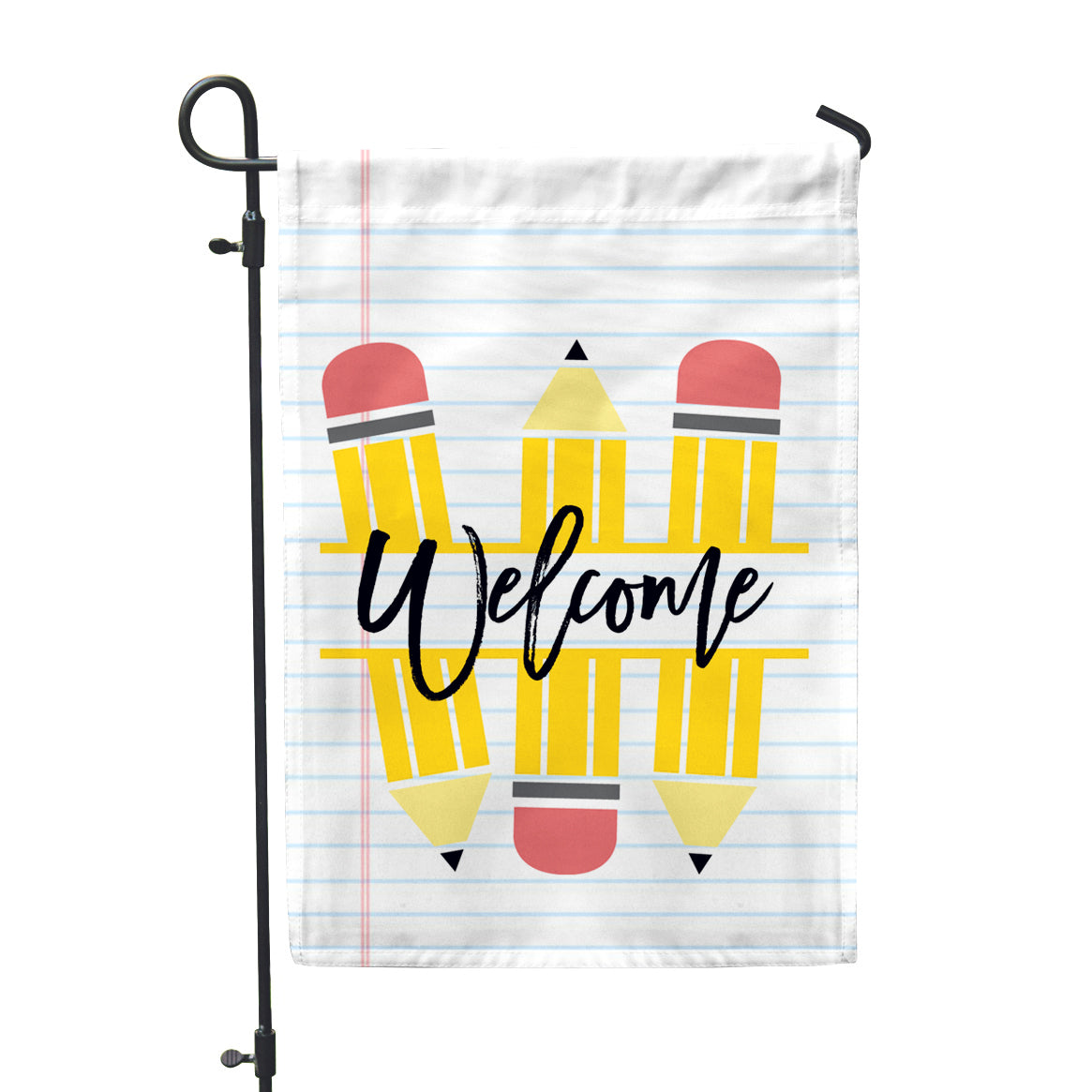 Welcome Pencils Teacher Gift Classroom School Home & Garden Flag - Second East