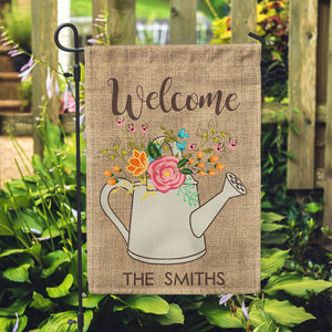 "Personalized Garden Flag - Welcome Summer Floral Custom Yard Flag - 12"" x 18"" - Second East"