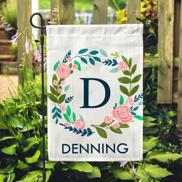 "Personalized Garden Flag - White Floral Initial Custom Yard Flag - 12"" x 18"" - Second East"