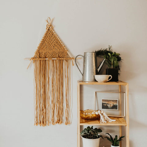 Golden Macrame Triangle Wall Hanger