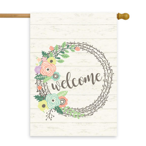 Welcome Pastel Floral Wreath House Flag 28