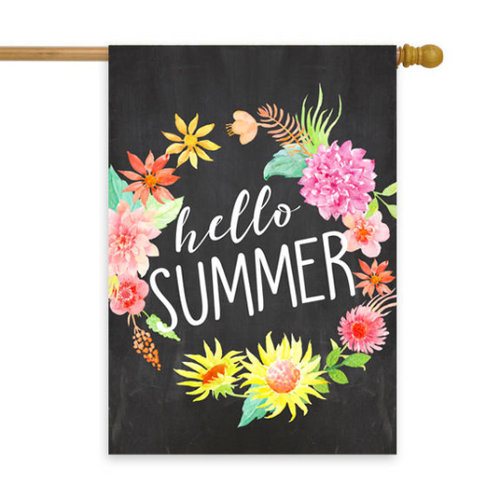 Hello Summer Chalkboard Wreath House Flag 28