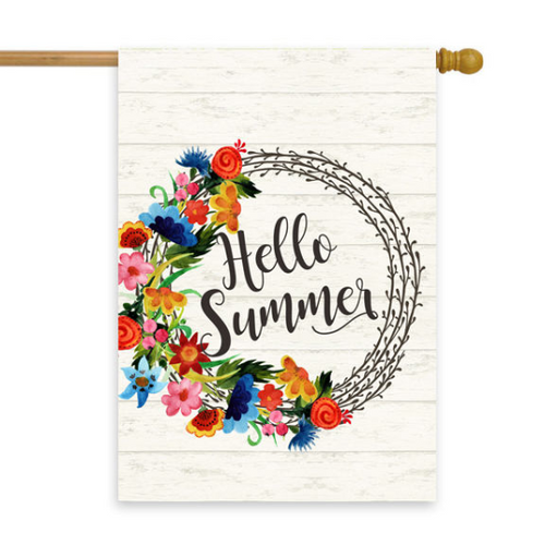 Hello Summer White Wreath House Flag 28