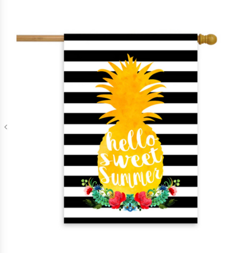 Hello Sweet Summer Pineapple Wreath House Flag 28