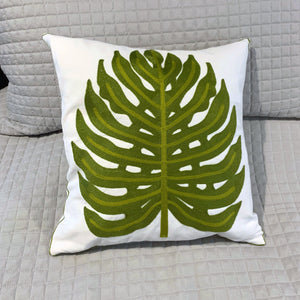 Embroidered Pillow Cover - Palm