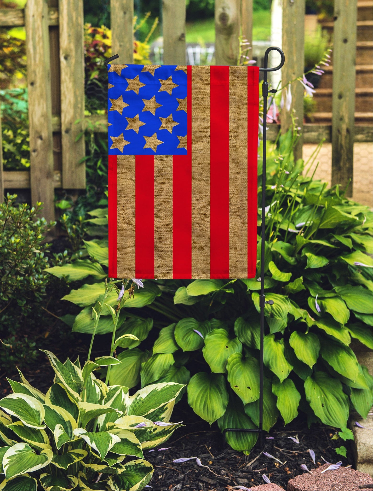 "Burlap American Garden Flag 12"" x 18"" - Second East"