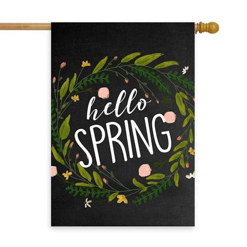 Hello Spring Chalkboard Wreath House Flag 28