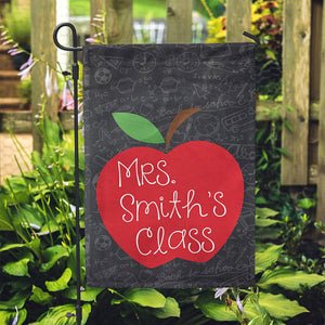 "Personalized Garden Flag - Teacher School Apple Home Flag - 12"" x 18"" - Second East"