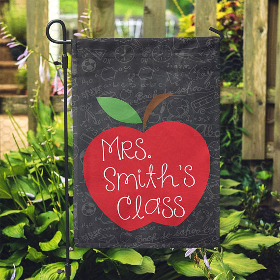 "Personalized Garden Flag - Apple Teacher School Chalkboard Home Flag - 12"" x 18"" - Second East"
