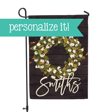 "Personalized Garden Flag - Farmhouse Cottonwood Wreath Home - 12"" x 18"" - Second East"