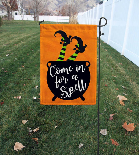 "Come in For a Spell Garden Flag - 12"" x 18"" - Second East"