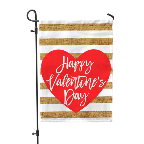 Happy Valentine's Day Burlap Home & Garden Flag - Second East