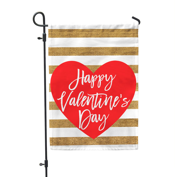 "Happy Valentine's Garden Flag 12"" x 18""- Double Sided - Second East"