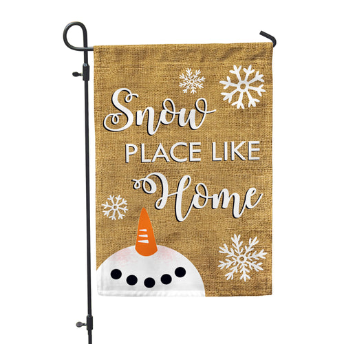 Snow Place Like Home Burlap Home & Garden Flag - Second East