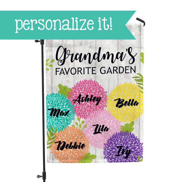 "Personalized Garden Flag - Grandma's Favorite Garden - 12"" x 18"" - Second East"