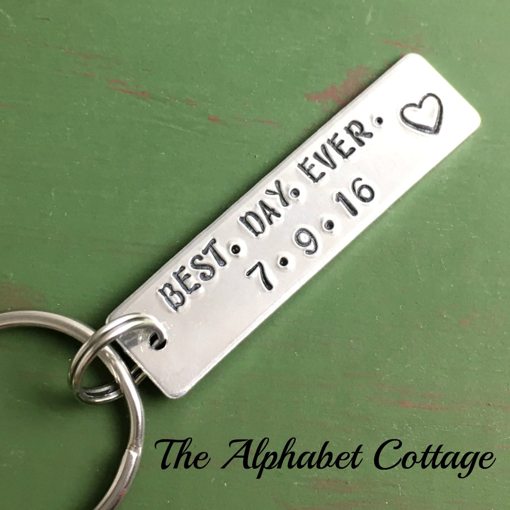 Best Day Ever Anniversary Keychain Wedding Husband Gift
