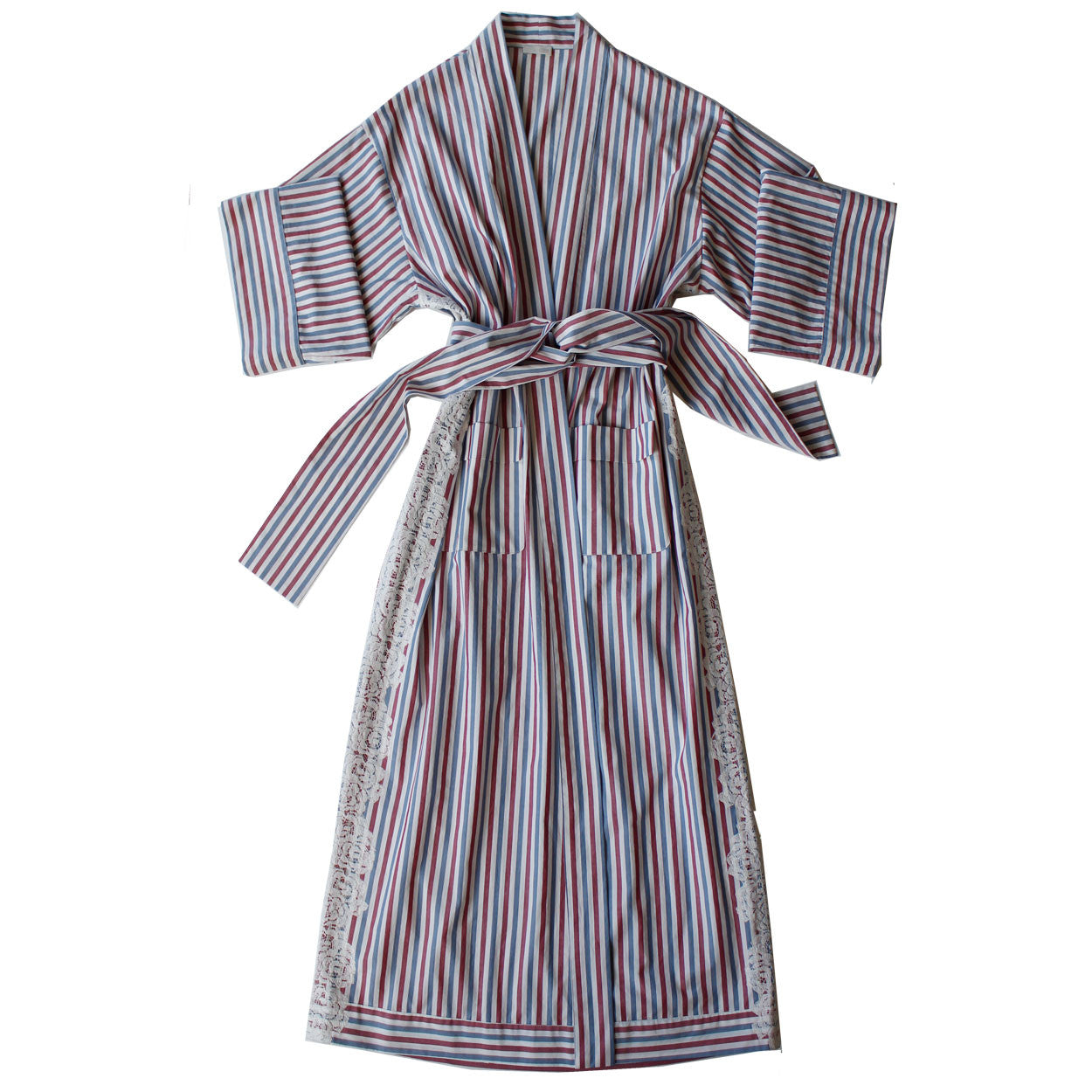 Asteria Kimono Robe in Italian Red Blue Striped Cotton